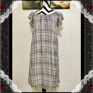 BCBGeneration Ruffles Sleeve Swing Pleated Dress
